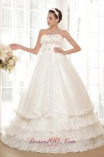 Luxurious Strapless Tulle Taffeta Beaded Wedding Dress