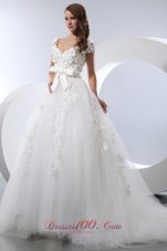 Gorgeous Sassy A-line V-neck Taffeta Tulle Wedding Dress