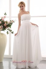 White Empire Strapless Wedding Gown Chiffon Ruch