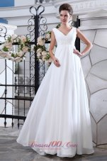 Unique A-line V-neck Wedding Dress Chiffon Ruch Appliques