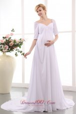 Unique Empire V-neck Wedding Dress Court Train Chiffon
