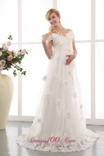 A-line Maternity Wedding Dress Appliques Floral Train