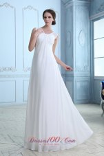 Empire V-neck Maternity Wedding Dress Chiffon Ruch