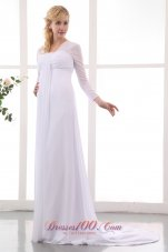 Empire Square Ruched Court Train Wedding Dress
