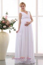 Populor V-neck Maternity Wedding Dress Chiffon Beaded