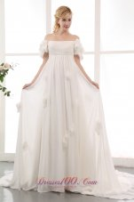 Empire Off The Shoulder Floral Wedding Dress Chiffon