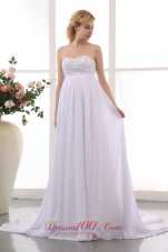 Elegant Empire Sweetheart Beading Wedding Dress Chiffon