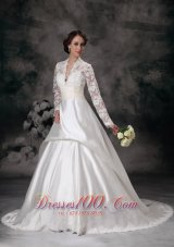 High-class A-line V-neck Court Train Wedding Dress