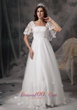 Empire Square Cheap Wedding Dress Tulle Lace Appliques