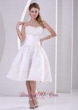 A-line Strapless Ruch Ruffles Tea-length Wedding Dress