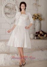 Custom Princess Short Wedding Dress Strapless Satin Ruch