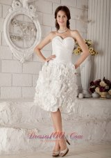 Latest A-line Knee-length Floral Ruch Wedding Dress