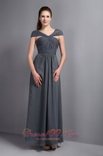 Grey V-neck Ankle-length Cap Sleeves Bridesmaid Dress