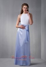 White Lilac Hand Flower Scoop Bridesmaid Dress