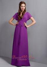 Purple Chiffon Bridesmaid Dress Short Sleeves V-neck