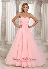 Ruched Hand Flower Baby Pink Bridesmaid Dress