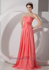 Watermelon Flowers Brush Train Bridesmaid Dress