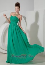 Brush Train Bridesmaid Dress Turquoise Chiffon Ruch