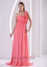 One Shoulder Bridesmaid Dress Watermelon Brush Train