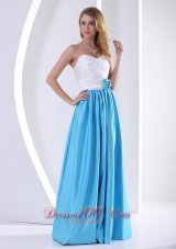 White Aqua Blue Bridesmaid Dress Hand Flower Ruch