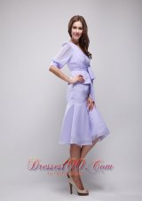 Lavender Column Knee-length Chiffon Prom Homecoming Dress