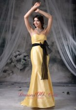 Mermaid Yellow Sweetheart Taffeta Prom Evening Dress