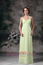 Yellow Green Column Chiffon Prom Evening Dress