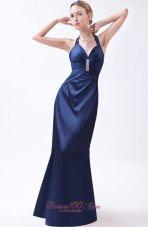 Blue Column Prom Dress Taffeta Beading Floor-length