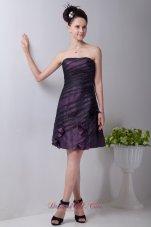 Purple Strapless Taffeta Floral Prom Homecoming Dress