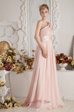 Pink Empire Brush Train Floral Ruch Prom Dress