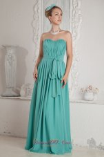 Sweetheart Chiffon Turquoise Prom Dress Ruch Sashed