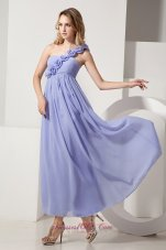 Ankle-length Hand Flower One Shoulder Bridesmaid Dress