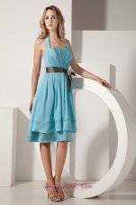 Aqua Blue Taffeta Knee-length Bow Bridesmaid Dress Ruched