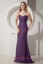 Column Chiffon Brush Dark Purple Prom Dress Sweetheart
