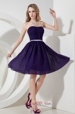 Strapless Ruch Knee-length Chiffon Purple Bridesmaid Dress