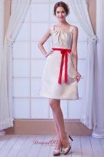 Champagne Square Mini-length Bow Bridesmaid Dress Colored