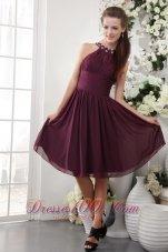 Maroon Empire High-neck Bridesmaid Dress Knee-length