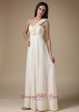 One Shoulder Handmade Flowers Bridesmaid Dress Chiffon