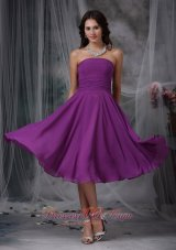 Purple Ruched Chiffon Short Bridesmaid Dress