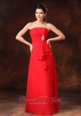 Beaded Red Chiffon Strapless Dress For Bridesmaid