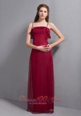 Spaghetti Straps Wine Red Bridesmaid Dresses Chiffon