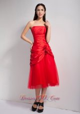 Red Hand Made Flowers Bridesmaid Dress Strapless
