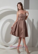 Beading Strapless Brown Short Dresses For Bridesmaids