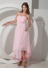 Asymmetrical Baby Pink Bridesmaid Dress Ruched Sweetheart