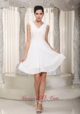 White V Neck Ruched Short Prom Cocktail Dresses Chiffon