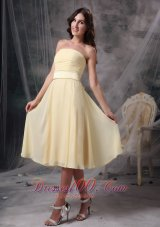 Ruch Light Yellow Short Prom Homecoming Dress Strapless