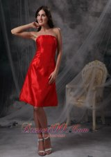 Red Ruched Party Cocktail Dresses Strapless Taffeta