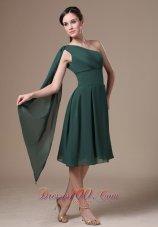 Hunter Green One Shoulder Homecoming Dress Watteau Train