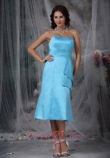Aqua Blue Empire Waist Bridesmaid Dress Tea-length