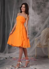 Mandarin Orange Short Dress for Prom Handle Flowers